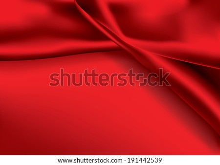 Red colored satin fabric background with copy space - stock vector