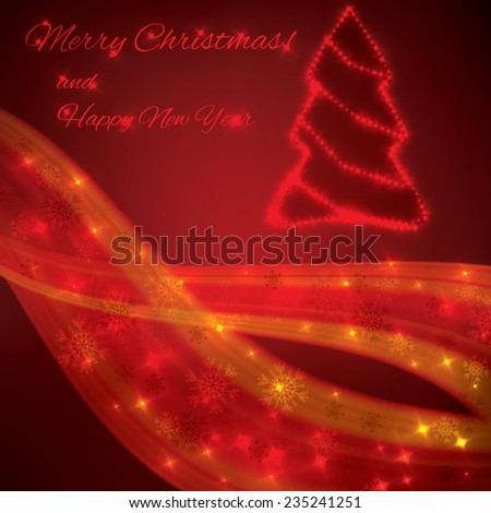 Red colorful christmas lights background  - stock vector