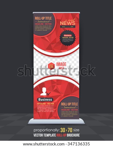 Red Colors Low Poly Style Shine Roll-Up Banner, Advertising Vector Background Design - stock vector
