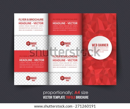 Red Colors Polygonal Geometric Elements Style Business Tri-Fold Brochure Design. Corporate Leaflet, Cover Template - stock vector
