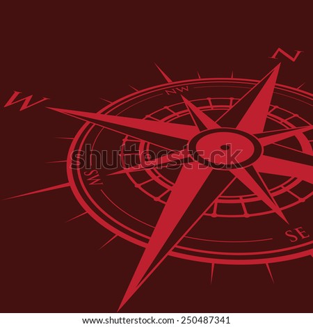 red compass background - stock vector