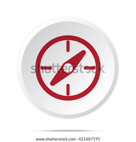 Red Compass icon on white web button
