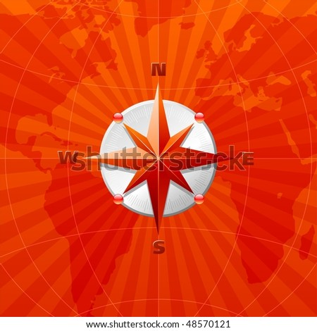 Red compass rose on a world map background - stock vector