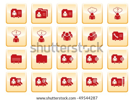 red computer icons on yellow background - stock vector