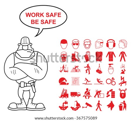Red construction manufacturing and engineering health and safety related graphics set isolated on white background with work safe be safe message - stock vector