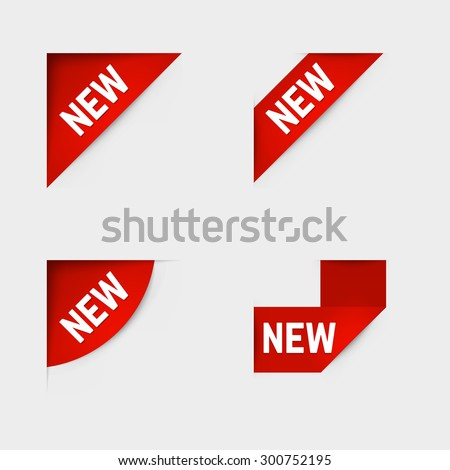 Red corner new labels. Vector. - stock vector