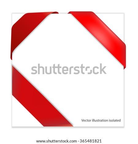Red corner ribbon - stock vector