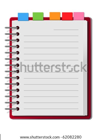 Red cover blank white note book - stock vector