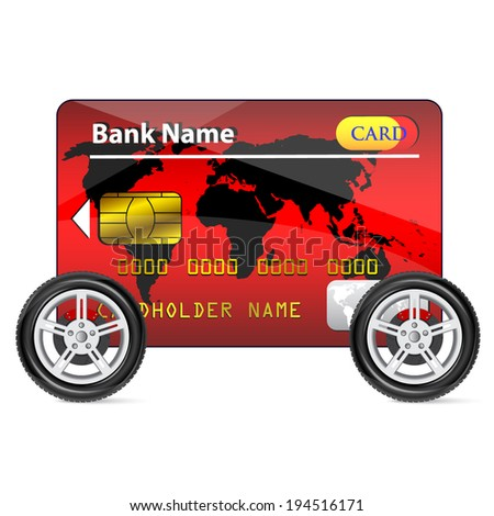 Red Credit Card on Wheels isolated on white background  - stock vector