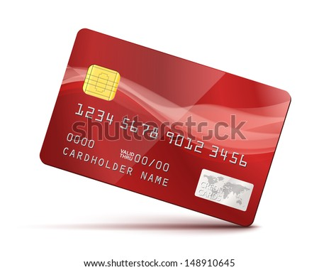 Red Credit Card Vector Illustration isolated on white - stock vector
