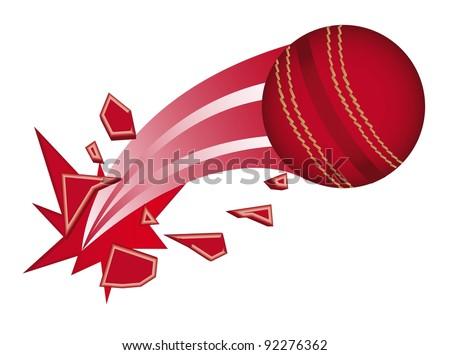 red cricket ball broken isolated vector illustration - stock vector