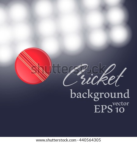Red cricket ball flying at stadium. Vector illustration. - stock vector