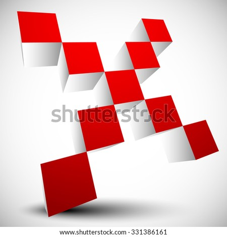 Red cross sign, X letter, X shape. - stock vector