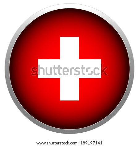 Red cross symbol for first aid, swiss flag, hospital emblem