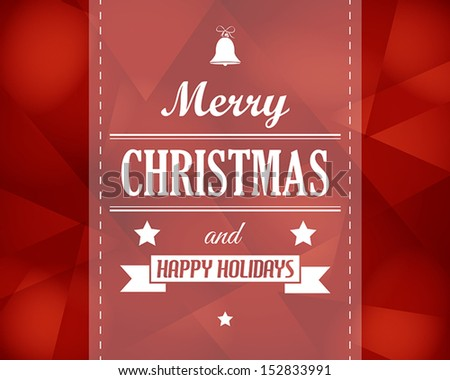 red crystalline christmas card. christmas concept - stock vector