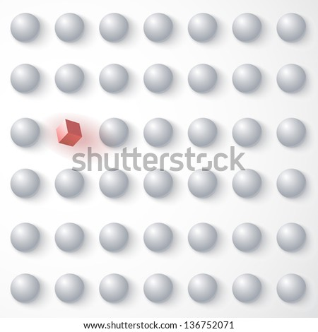 Red cube among white spheres, standing out in the crowd - stock vector