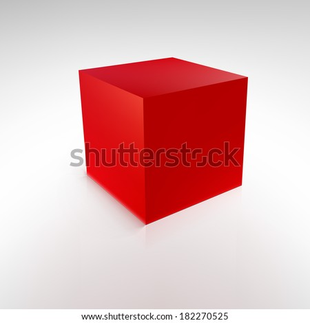 Red cube with reflections and shadows, vector illustration - stock vector