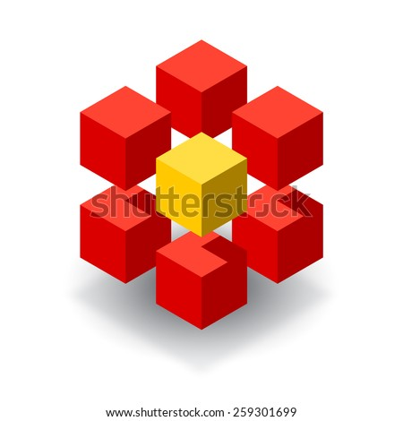 Red cubes 3D logo with yellow segment  - stock vector