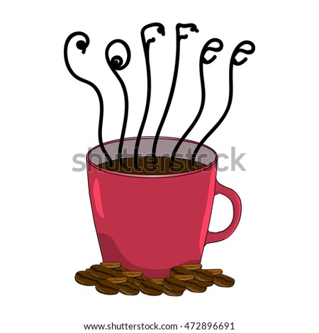 Red cup of coffee and coffee beans. Hand drawing. Isolated vector object.