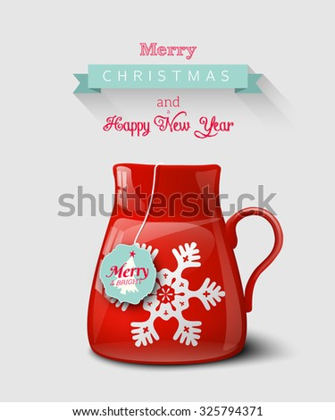 Red cup with snowflake, christmas motive, on gray background, seasonal greeting card, vector illustration, eps 10 with transparency and gradient mesh - stock vector