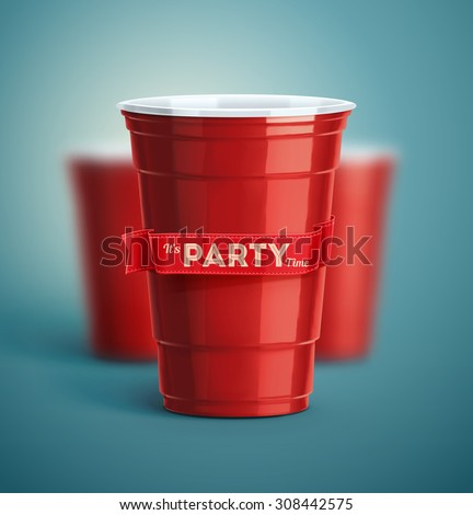 Red cups, it's party time, eps 10 - stock vector
