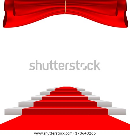 red curtain and red carpet - stock vector