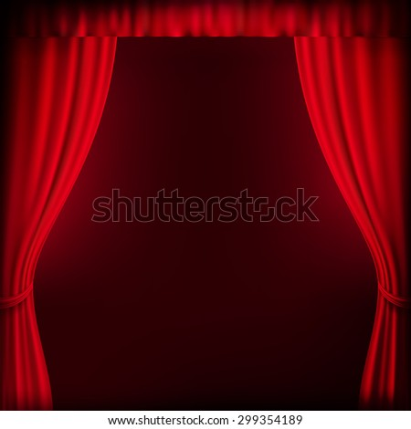 Red curtain background template. EPS 10 vector file included - stock vector