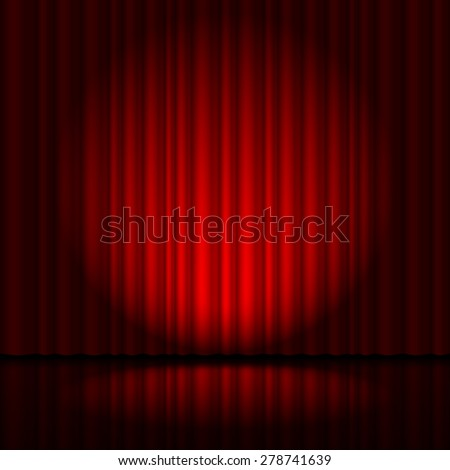 Red curtain from the theatre with a spotlight - stock vector