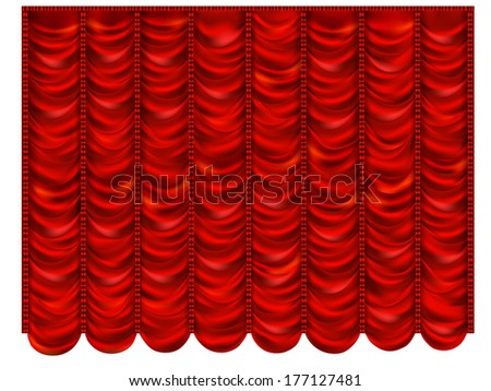 Red curtain in the French style - stock vector