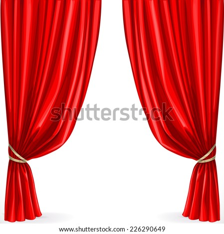 Red curtain isolated on a white background - stock vector
