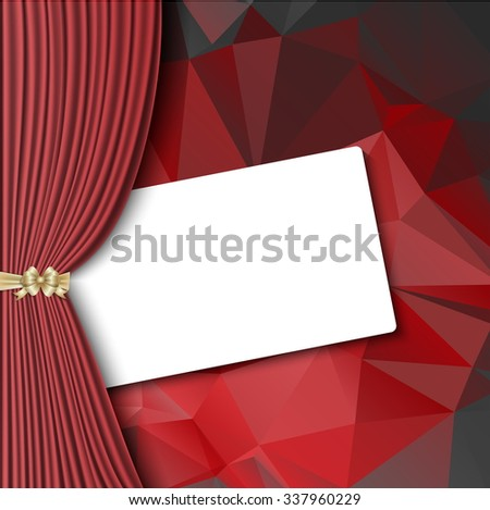 Red Curtain, mesh, theater curtain with blank card - stock vector