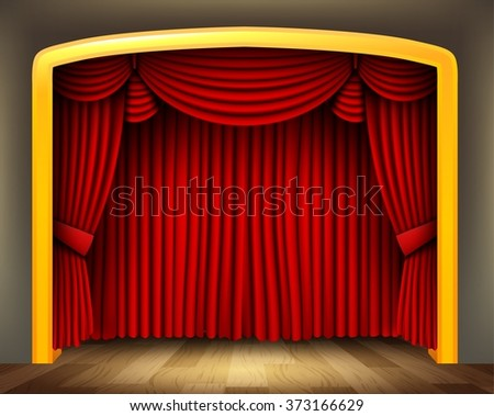 Red curtain of classical theater with wood floor - stock vector