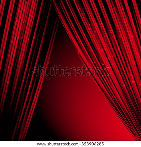 Red curtain on a black background - stock vector