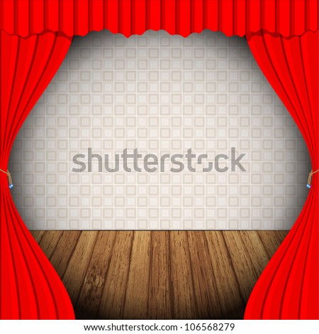 Red curtain on stage wallpaper and wood floor vector - stock vector