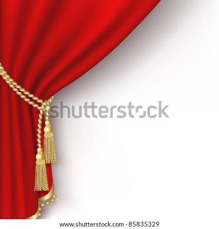 Red curtain on the  white background. Clipping Mask. Mesh. - stock vector