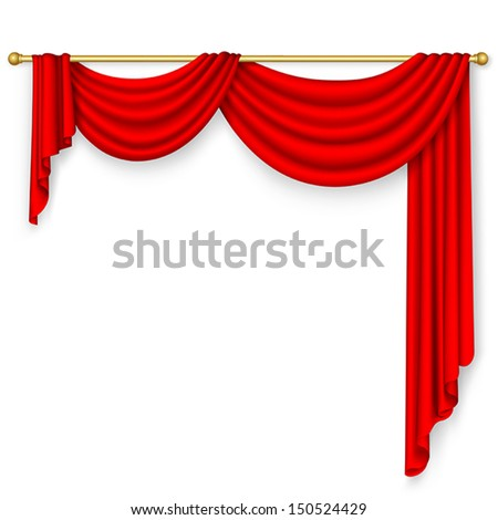 Red curtain on the white background. Mesh. - stock vector