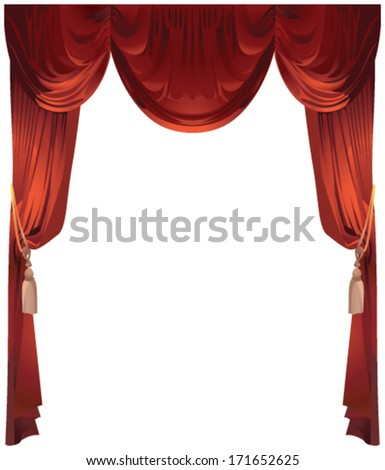 Red curtain on white background - stock vector
