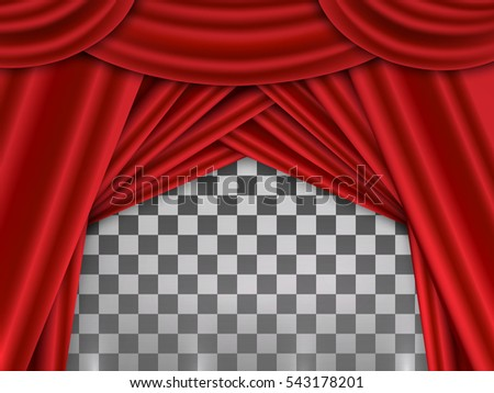 Red Curtain, Red Curtain On Theater Or Cinema Stags. Vector Illustration On  Transparent Background