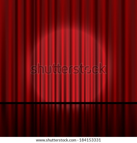 Red curtain vector background. - stock vector