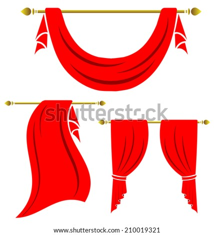 Red curtain vintage vector set on white background - stock vector