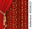 Red curtain with gold pattern. Clipping Mask - stock photo