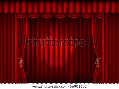 red curtain with spotlight - stock vector