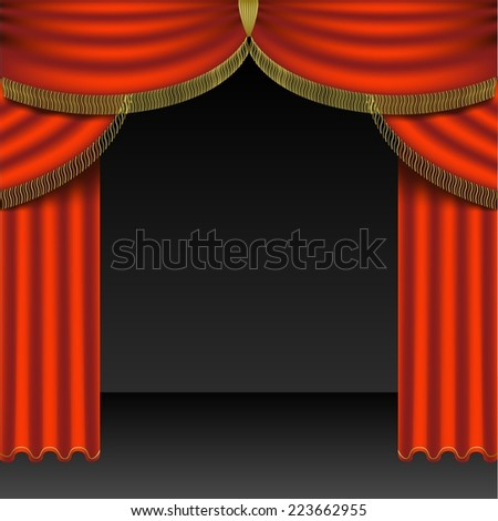 Red Curtains - Colored Background Illustration, Vector