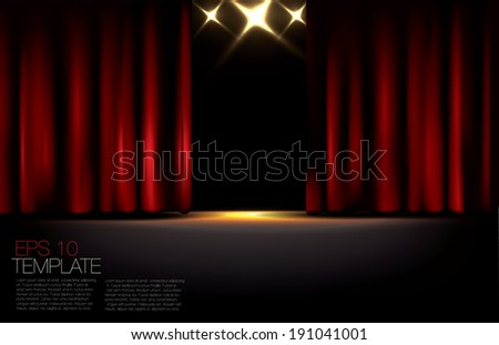 Red curtains. Editable EPS 10 vector graphic. - stock vector