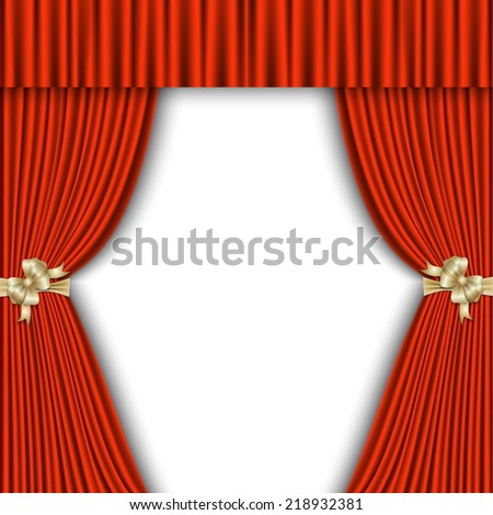 Red Curtains Isolated on White Background - stock vector