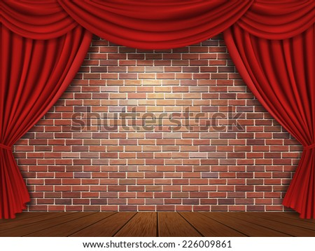 Red curtains on brick wall background - stock vector