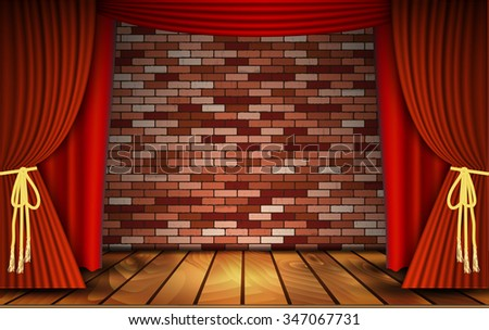 Red curtains or velvet drapes on an old rustic brick wall as a theatrical stage for theater and stand up comedy performance. Vector illustration. - stock vector