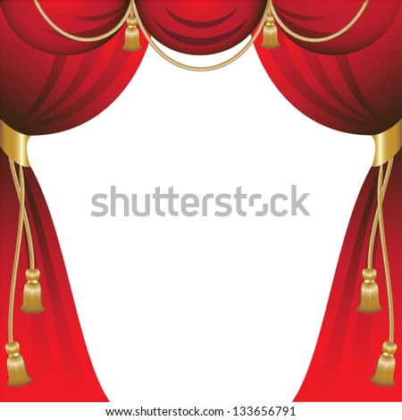 Red curtains with gold tassels - stock vector