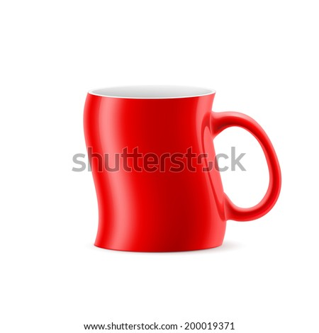 Red curve cup of something stay on white background