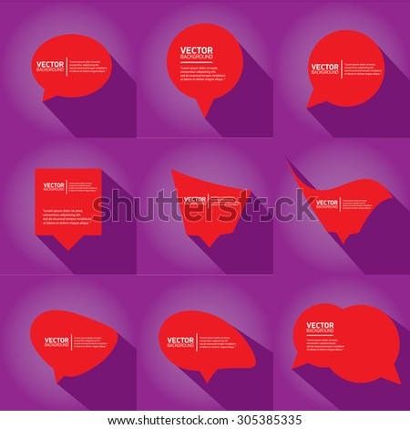 red cut paper speech bubbles on violet. speech bubbles set. vector illustration - stock vector
